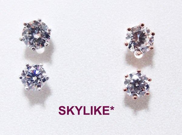 *SKYLIKE* 最可愛-韓國進口585/14K白K金單鑽六爪鑲0.3克拉鋯石耳針耳環,EJ-64333k