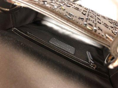 Dior 絲綢 閃鑽 灰色 lady mini 手袋 包包