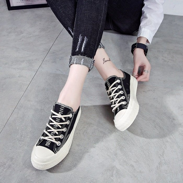 年女鞋新款帆布鞋女韓版ulzzang鞋學生創意女休閒鞋瑞安女鞋