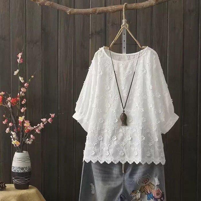 寬鬆娃娃衫小花刺繡純棉襯衫燈籠袖上衣TG2336