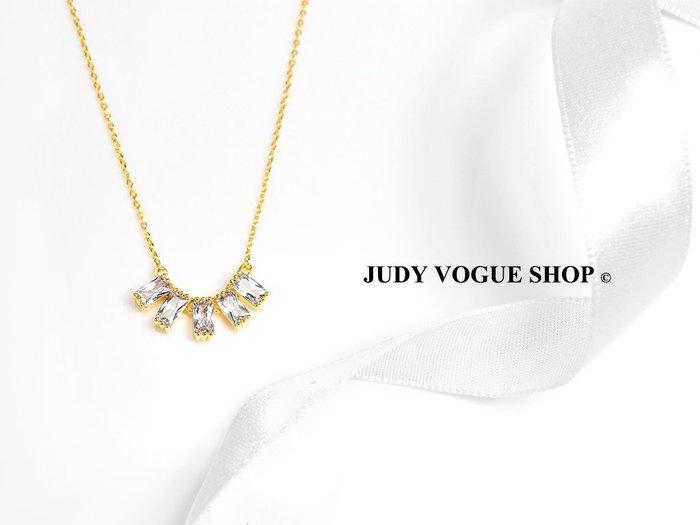 韓國 項鍊 璀璨鋯石排鑽項鍊 氣質鎖骨項鍊 輕奢低調 JUDY VOGUE SHOP【JNE-0004】