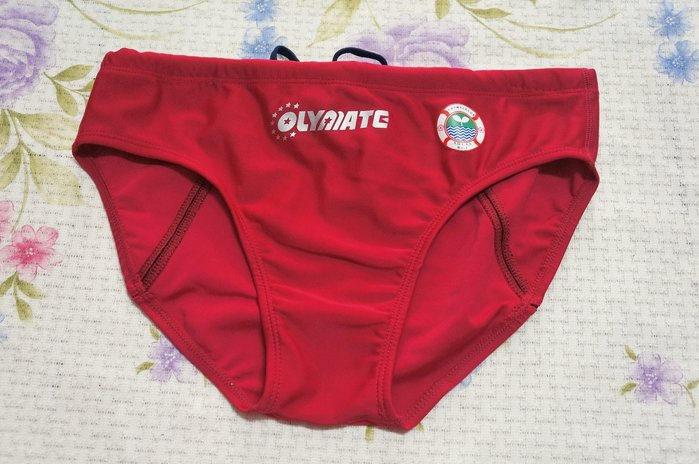 KINI-奧林匹克OLYMATE-水上救生協會(救生員)萊卡三角泳褲[紅]中三角(三排水線)-M/L/XL/2XL