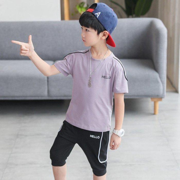 [男童套裝] 坎條套裝 夏天衣服 男童兩件套 兒童休閒衣服 韓版素色套裝 大童兩件式服裝 一組套裝 短袖套裝 短褲套裝SF54145