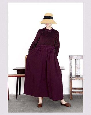 秋冬設計款荷葉邊領中國風高腰氣質款連衣裙(老銀屋)