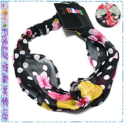 ☆POLLY媽☆歐美BRASH twistedturban headwrap花朵葉片點點圖案黑色縐紗交叉圈繞髮帶~2色系
