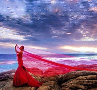 凡妮莎新娘頭紗~紅色素紗裸紗1.5米軟紗 婚紗禮服