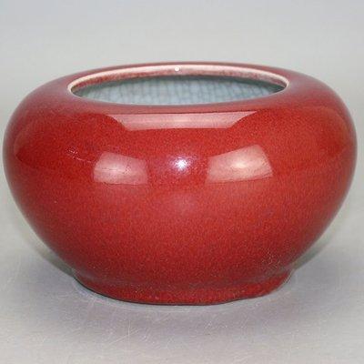 ㊣姥姥的寶藏㊣ 大清光緒霽紅釉內開片筆洗 古玩古董