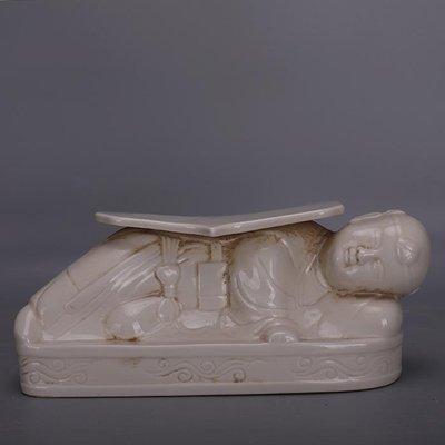 【三顧茅廬】宋代定窯手工刻花娃娃枕 博物館出土文物古瓷器古玩古董收藏擺件