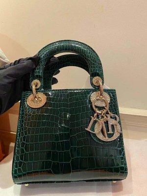 【Luxury Room極盡奢華】保證專櫃真品Lady Dior迪奧 超美6Q翡翠綠 亮面鱷魚皮 貴氣鑽釦 金鏈 肩背斜背手提包 三格黛妃包 原價100多萬全新