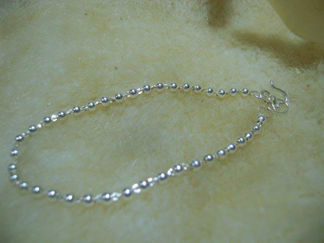 ※水晶玫瑰※ 990純銀圓球造型手鏈(RD127)