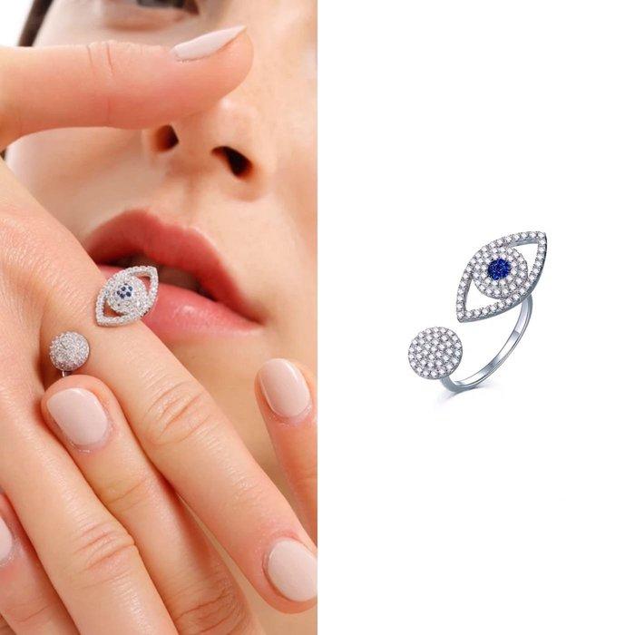 💎1758、銀鑲晶鑽藍色真知之眼幸運祝福輕奢戒指💎  精品 耳環 輕奢飾品 正韓飾品 925純銀針