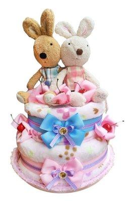 娃娃屋樂園~🎈法國兔(雙胞胎)雙層毛毯尿布蛋糕-藍粉色🎈彌月送禮第一名票選禮物 每組2599元/生日蛋糕/滿月禮