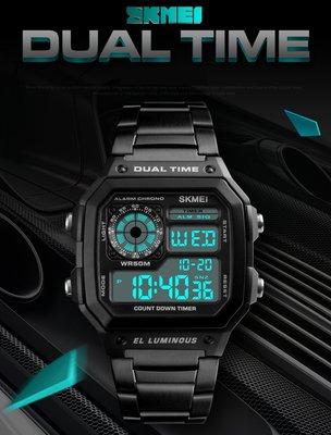 [生活家]台灣當日發貨 SKMEI 方形 電子錶 復古 運動錶 防水電子錶 學生錶 潛水錶 手錶 男錶