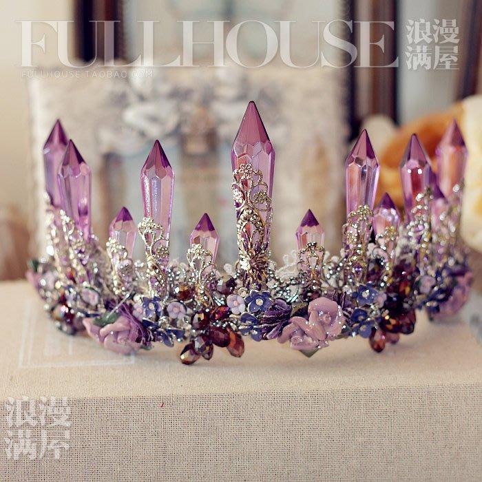 妞妞 婚紗禮服~紫色水晶皇冠頭飾+耳環禮服配飾~3件免郵