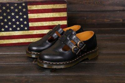 Dr.Martens 馬丁鞋 復古 經典雕花 雙釦 瑪莉珍鞋 8065 黑色 硬皮 【 BRITISH LOOK 】