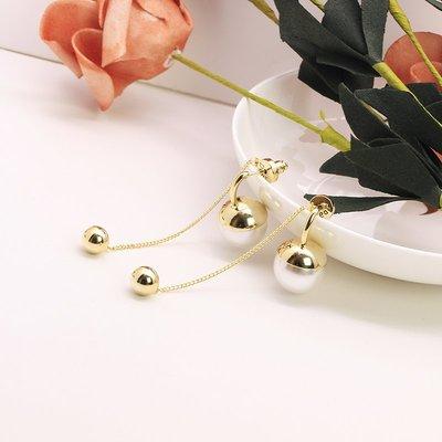 Lissom韓國代購~e 家懶人s925銀針款耳勾珍珠流蘇不對稱耳釘耳環大氣顯氣質襯膚色