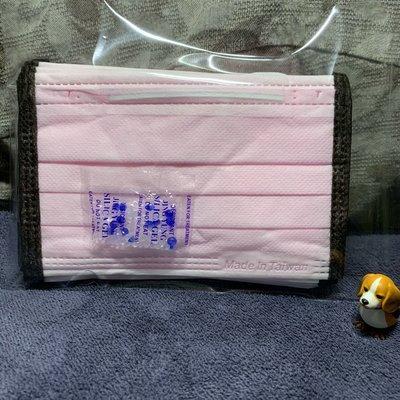 現貨台灣優紙🌈粉紅底黑邊🌈兒童平面口罩(10入)