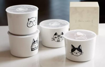 【喬喬本舖】北歐貓咪圖案保鮮盒 可微波食物(微波時記得把蓋子拿掉) 菜盤 馬克杯 陶瓷杯 貓奴必備