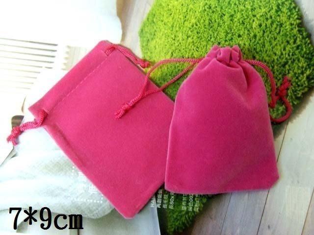 ☆創意小物店☆首飾袋/飾品袋 /絨布袋/禮品包裝袋/束口袋(7*9cm玫紅色)/一個