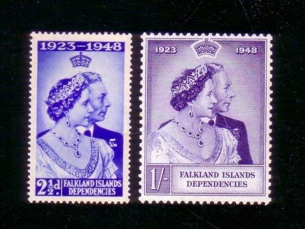 [亞瑟小舖]英屬福克蘭群島英皇喬治六世結婚25週年紀念新票2全,稀有佳品!!!(1948年)