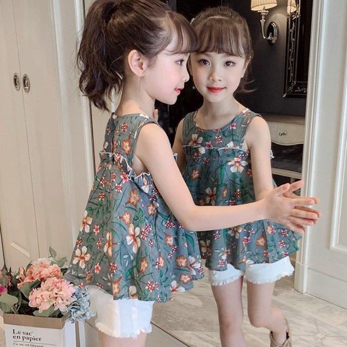 日韓歐美♥韓版甜美女童夏日套裝  可愛 花朵印花上衣 涼爽背心 白色毛邊短褲 套裝【Q031】