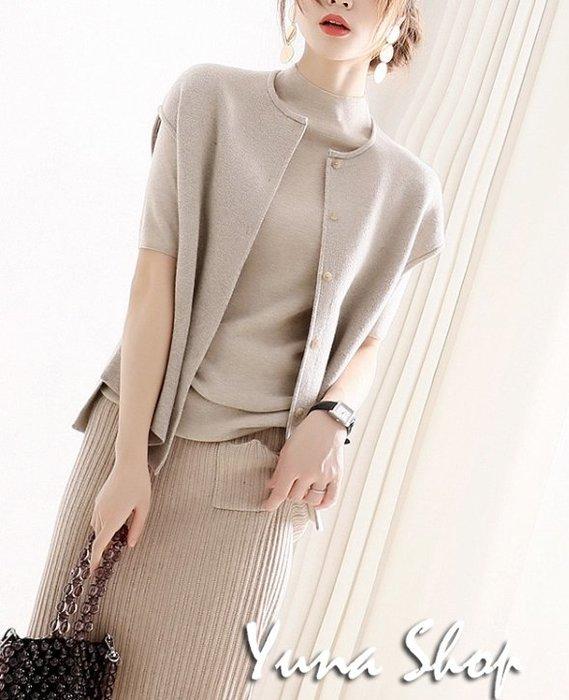 ☆YUNA SHOP☆自留推薦款設計師感平針羊毛混紡針織馬甲背心開衫 兩件免運 韓妮