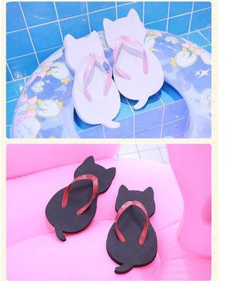 【紫色風鈴3】貓咪拖鞋人字拖日本木屐貓軟妹喵咪涼拖夏季可愛拖鞋