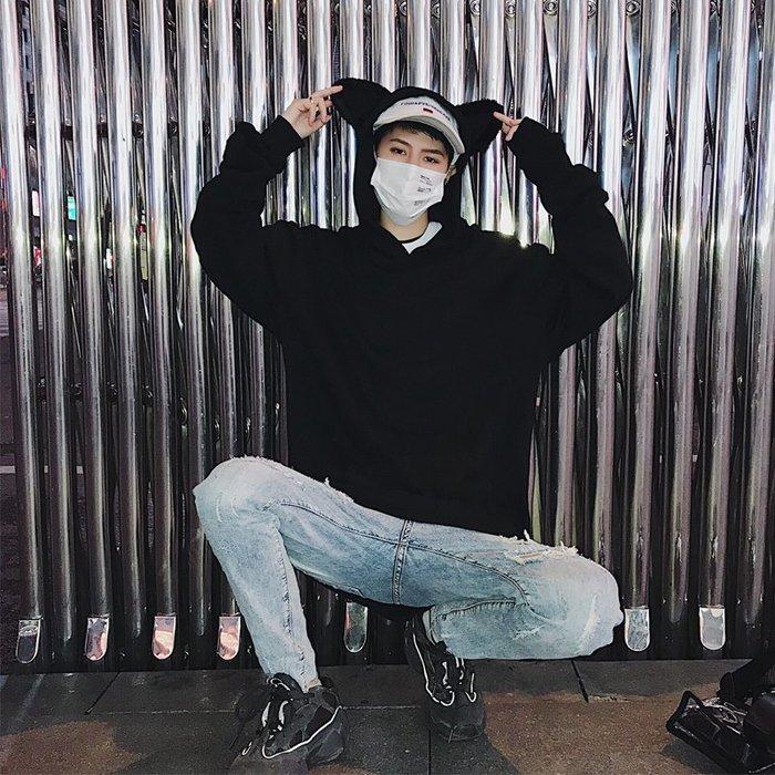 FINDSENSE 2019 春季 新款 韓國 街頭 嘻哈 貓耳朵  印花 時尚 寬鬆 個性 連帽 衛衣 長袖 潮男