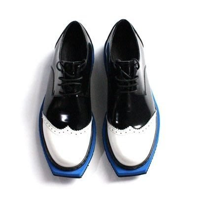 皮鞋 真皮休閒撞色平頭鞋-巴洛克雕花油面時尚男鞋73kv28[獨家進口][米蘭精品]