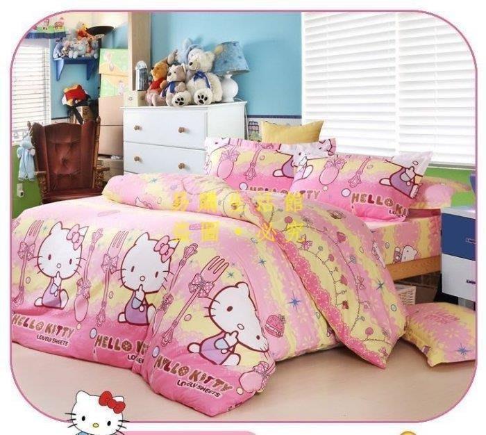[王哥廠家直销]寶貝 KT kitty 純棉 Hellokitty 雙人加大床包組 床件組(被套/枕套/床包)-1.8ML