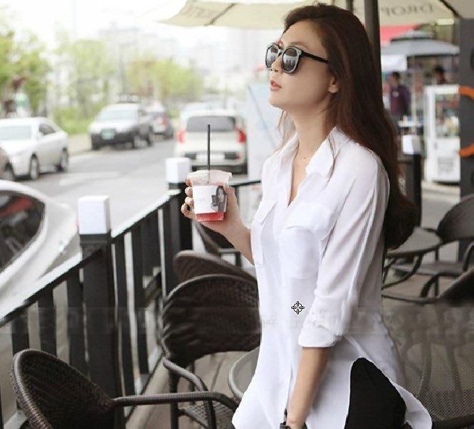 ☆Candy Box☆雪纺寬鬆襯衫修身雪纺衫上衣襯衣女長袖 (S) Z1321801