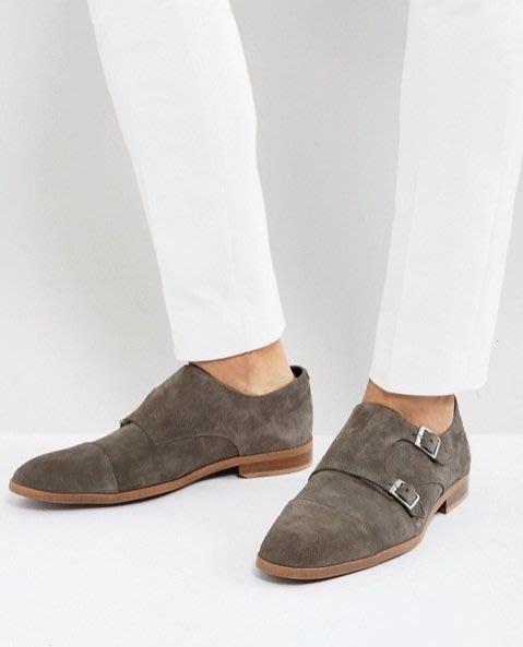 ◎美國代買◎ASOS雙皮扣裝飾麂皮材質英倫雅痞紳士風麂皮和尚款尖圓頭皮鞋~歐美街風~大尺碼