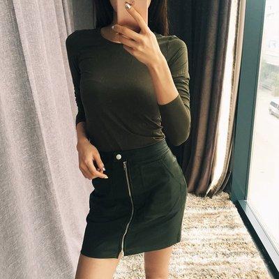 **~A Life Style~**歐美American Apparel春夏高腰顯瘦氣質皮裙(黑色、軍綠色)