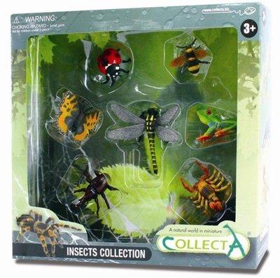【阿LIN】89268A 昆蟲禮盒組 七入 動物模型 COLLECTA 蝴蝶 瓢蟲 蜜蜂 青蛙 蠍子 蜻蜓 獨角仙 正版