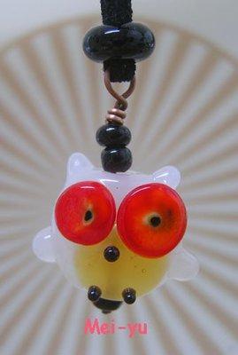 豬豬姨~玻璃貓頭鷹項鍊~玻璃項鍊~Handmade lampwork owl/leaf necklace~