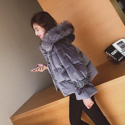 (特價)韓版女裝氣質毛領加絨加厚連帽外...