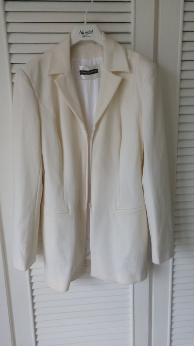 全新Plein Sud 乳白百合白軟質西裝外套
