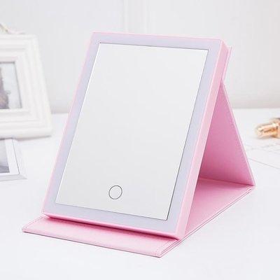售完即止-台式化妝鏡LED帶燈歐式梳妝鏡折疊便攜美容鏡隨身公主鏡10-13(庫存清出T)