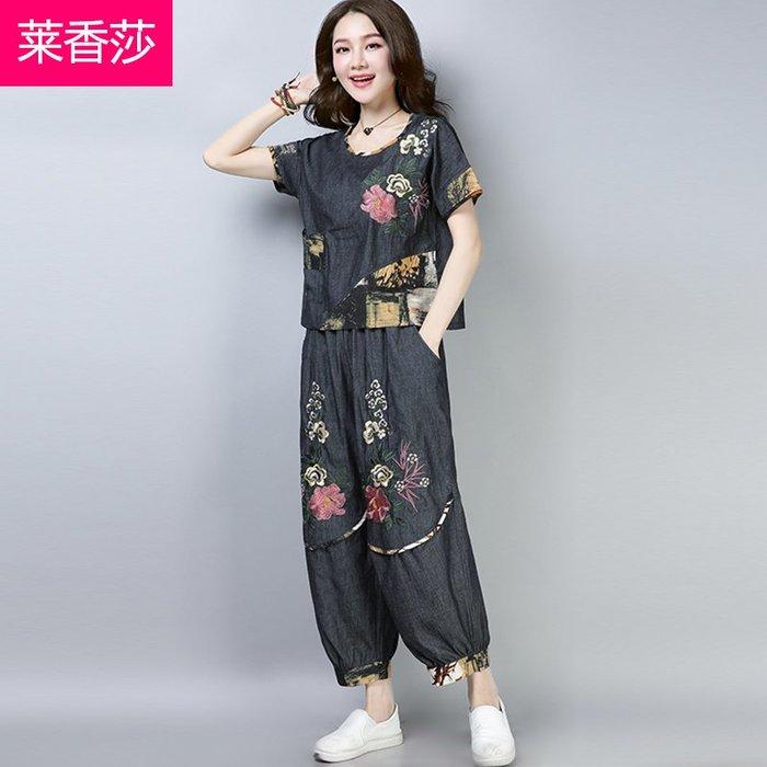 創意 民族風時尚民族風夏裝唐裝棉麻短袖休閑套裝女繡花短袖牛仔上衣闊腿褲兩件套