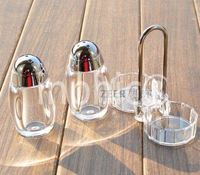 INPHIC-壓克力粉筒套裝 2支粉筒帶架子套裝 牙籤筒 胡椒粉瓶 調味罐