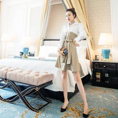 ☆TANG KOREA*╮正韓 長袖名媛氣質假兩件polo連身裙