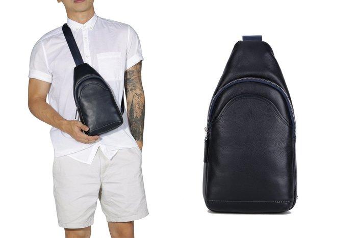 【星推薦】一件起批英馳YNOCH工廠直銷全皮荔枝紋牛皮男包後背包斜跨包胸包潮酷風範
