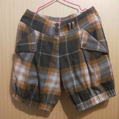 JACANA設計師格紋羊毛五分褲