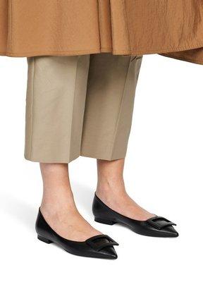 【預購】20春夏Roger Vivier Gommettine Ball ballet flats尖頭方扣平底鞋 黑色