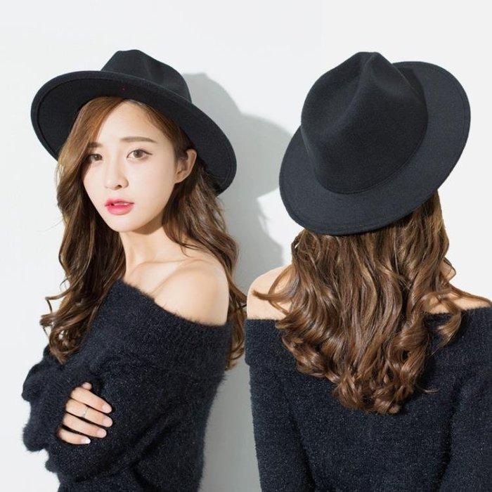 小禮帽 韓版黑色毛呢帽子女秋冬韓國復古小禮帽女英倫青年出游百搭爵士帽