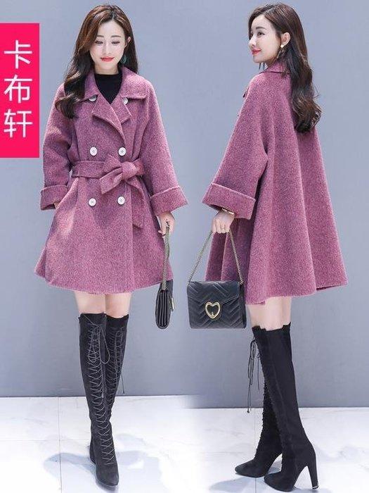 毛呢外套秋冬款女新款2018流行大衣赫本風毛呢外套中長款韓版呢子大衣女裝