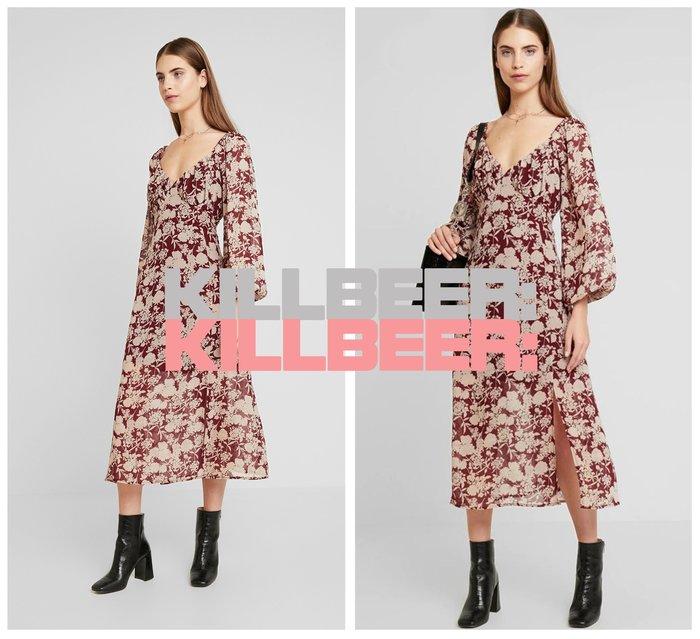 KillBeer:漂丿的都市名媛之 歐美復古優雅氣質撞色紅花朵印花風領低胸抓皺垂墜感開衩連身裙長洋裝010803