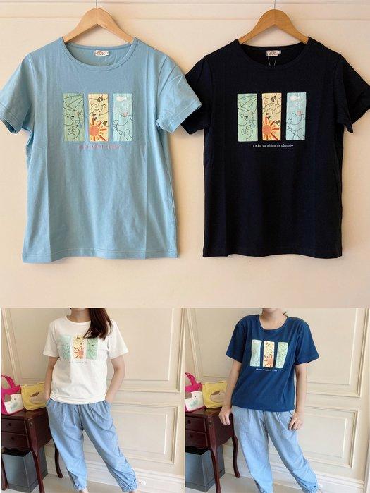 日本卡拉貓~三格天氣貓咪純棉T恤 M-XL