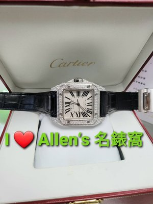 【已交流】CARTIER 卡地亞 Santos 山度士 100 XL 41MM 自動機芯 豪華鑽錶 盒單全