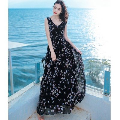 海淘吧~夏季新品女裝V領裙子無袖雪紡連衣裙長裙波西米亞海邊度假沙灘裙FSD98J